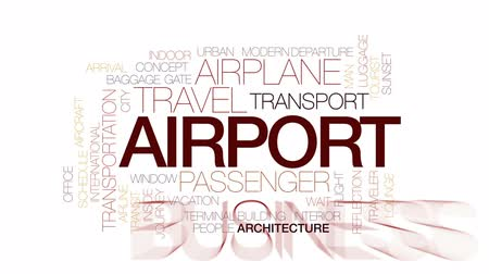 letadlo : Airport animated word cloud, text design animation. Kinetic typography.