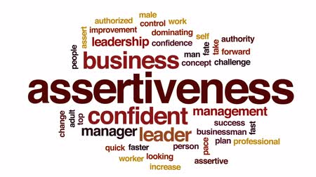 looking forward : Assertiveness animated word cloud, text design animation.