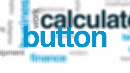 przycisk : Calculator animated word cloud, text design animation.