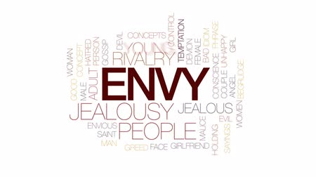 соперничество : Envy animated word cloud, text design animation. Kinetic typography. Стоковые видеозаписи