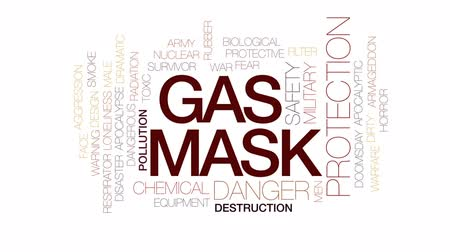 doomsday : Gas mask animated word cloud, text design animation. Kinetic typography.