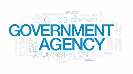 ügyintézés : Government agency animated word cloud, text design animation. Kinetic typography.