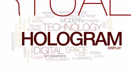 tekno : Hologram animated word cloud, text design animation. Kinetic typography. Stok Video