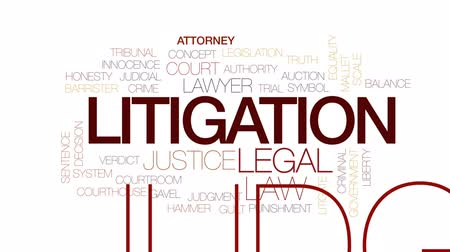tribunal : Litigation animated word cloud, text design animation. Kinetic typography.