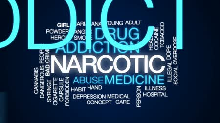 seringa : Narcotic animated word cloud, text design animation. Stock Footage