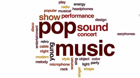 mikrofon : Pop music animated word cloud, text design animation.