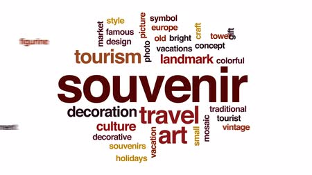 souvenirs : Souvenir animated word cloud, text design animation. Stock Footage