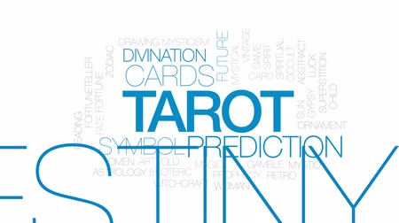 mysticism : Tarot animated word cloud, text design animation. Kinetic typography. Stock Footage