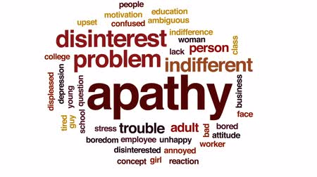 disinterest : Apathy animated word cloud, text design animation.