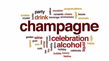 şerefe : Champagne animated word cloud, text design animation.