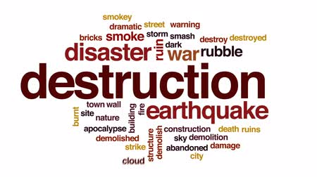 zbourán : Destruction animated word cloud, text design animation.