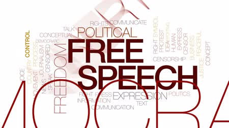 jornalismo : Free speech animated word cloud, text design animation.Kinetic typography.