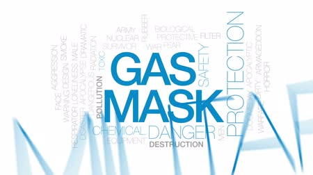 doomsday : Gas mask animated word cloud, text design animation.Kinetic typography.