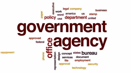 dosya : Government agency animated word cloud, text design animation.