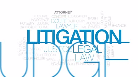 tribunal : Litigation animated word cloud, text design animation.Kinetic typography.