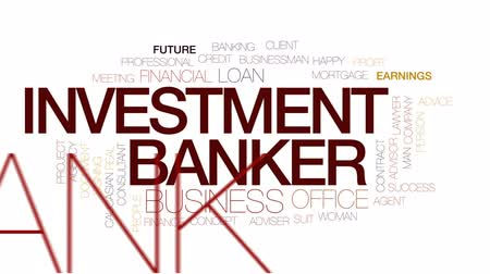bankier : Investment banker animated word cloud, text design animation.Kinetic typography.
