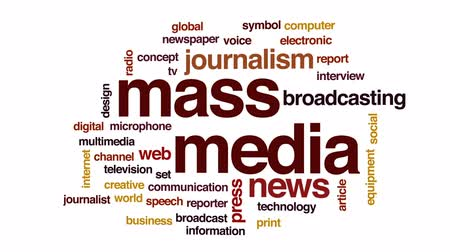 impressão digital : Mass media animated word cloud, text design animation. Stock Footage