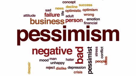 optymizm : Pessimism animated word cloud, text design animation.