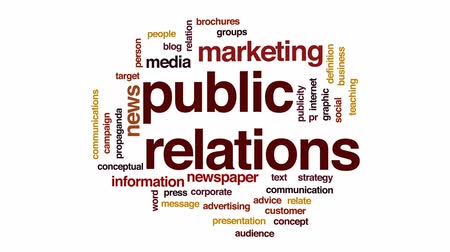 publicity : Public relations animated word cloud, text design animation. Stock Footage