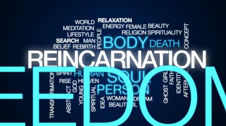 rebirth : Reincarnation animated word cloud, text design animation.