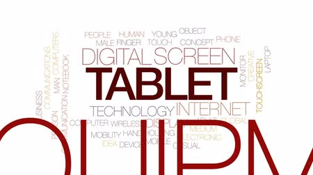 bez szwu : Tablet animated word cloud, text design animation.Kinetic typography. Wideo