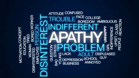 indifference : Apathy animated word cloud, text design animation.