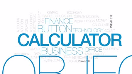 accounting : Calculator animated word cloud, text design animation. Kinetic typography.