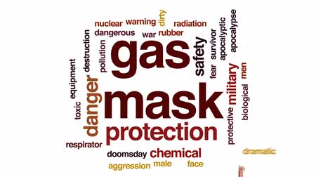 radiation : Gas mask animated word cloud, text design animation.