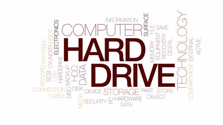 save : Hard drive animated word cloud, text design animation. Kinetic typography. Stock Footage