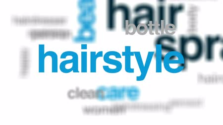 applying : Hair spray animated word cloud, text design animation.