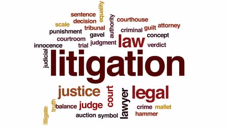 hukuk : Litigation animated word cloud, text design animation. Stok Video