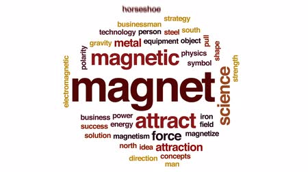 привлекать : Magnet animated word cloud, text design animation.