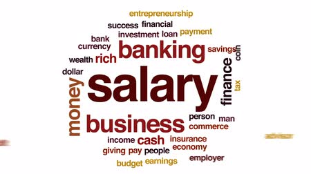 pracodawca : Salary animated word cloud, text design animation. Wideo
