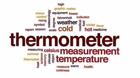 termostat : Thermometer animated word cloud, text design animation. Wideo