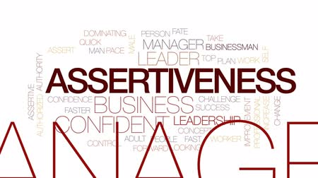 de aumento : Assertiveness animated word cloud, text design animation. Kinetic typography. Stock Footage