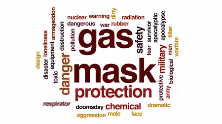 doomsday : Gas mask animated word cloud, text design animation.
