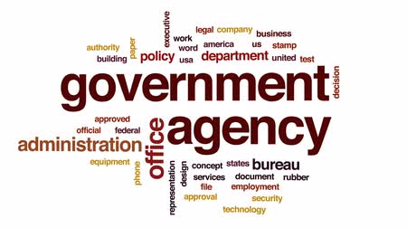 ügyintézés : Government agency animated word cloud, text design animation.