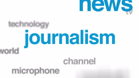 jornalismo : Mass media animated word cloud, text design animation. Stock Footage