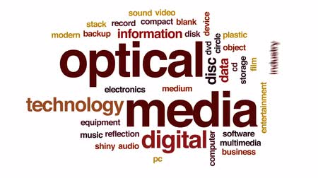 compact disc : Optical media animated word cloud, text design animation.