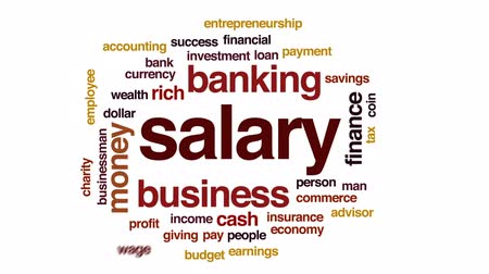 imposto : Salary animated word cloud, text design animation. Stock Footage
