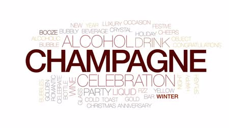 şerefe : Champagne animated word cloud, text design animation. Kinetic typography.