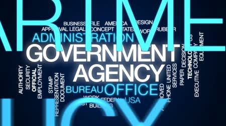 administracja : Government agency animated word cloud, text design animation.