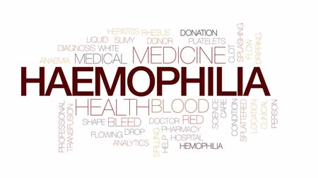 adomány : Haemophilia animated word cloud, text design animation. Kinetic typography. Stock mozgókép
