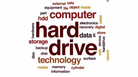 přihrádka : Hard drive animated word cloud, text design animation. Dostupné videozáznamy