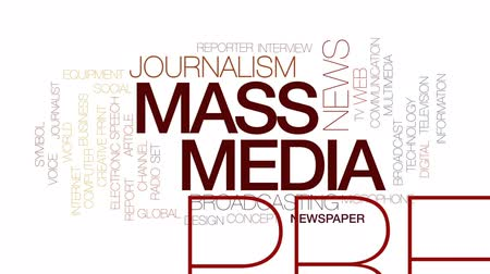 impressão digital : Mass media animated word cloud, text design animation. Kinetic typography.