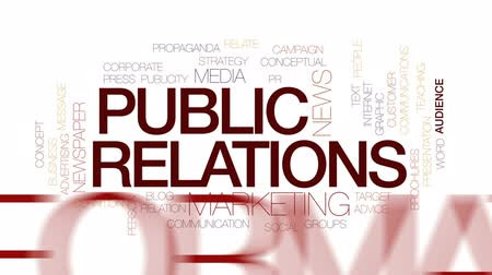 publicity : Public relations animated word cloud, text design animation. Kinetic typography. Stock Footage