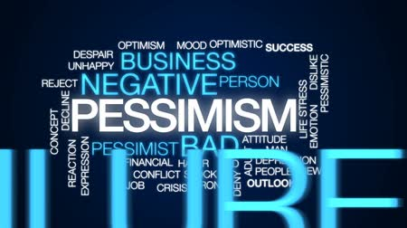 снижение : Pessimism animated word cloud, text design animation.