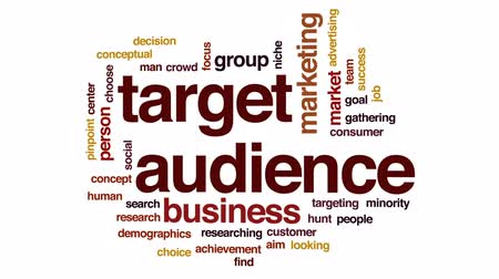 выбирать : Target audience animated word cloud, text design animation. Стоковые видеозаписи