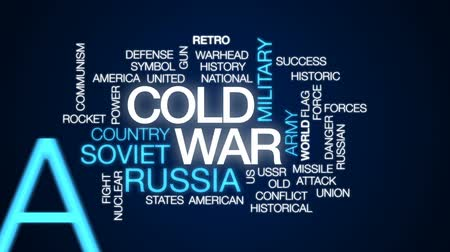 nuclear power : Cold war animated word cloud, text design animation.