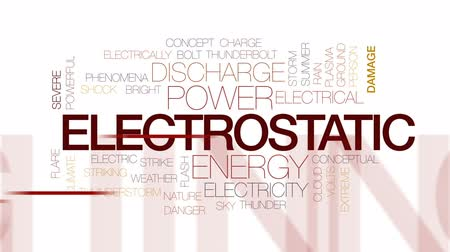 powerful : Electrostatic animated word cloud, text design animation. Kinetic typography.
